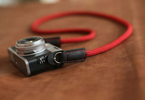 Fleck red climbing rope camera neck shoulder strap,B type. from windmup, black leather, 100% handmade,strong, 10mm (Customizable)