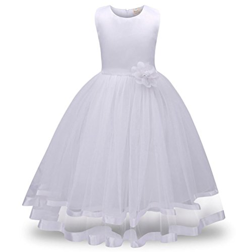 GBSELL Little Girls Floral Bow Sleeveless Tulle Princess Dress Party Wedding Outfit (4T, White) by GBSELL