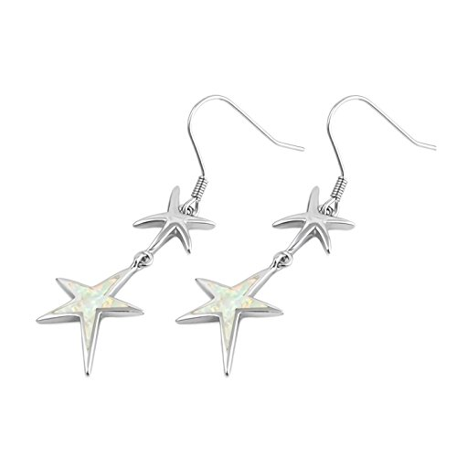 (18mm Starfish Lab Created Opal Inlay French Wire Fish Hook Earrings 925 Sterling Silver Womens -WO)