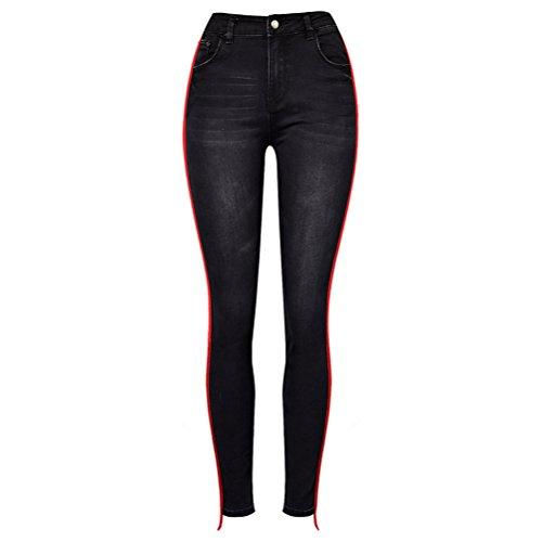 Rise Tessuto Pants Magro Pantaloni Trama Rosso Elastico High Splicing Jeggings Donna Nero Denim Jeans Zhuhaitf qzfw4BW
