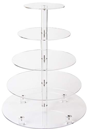 LoveDisplay 5-Tier Stacked Party Cupcake and Dessert Tower - Clear Acrylic Cake Stand ()