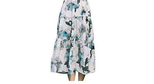 Purpura Erizo Femme Jupe Longue Large Imprimée Nature Simple A Froncé