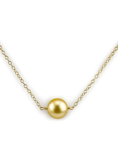 Golden South 11mm Pearl Sea (THE PEARL SOURCE 14K Gold 10-11mm Round Golden South Sea Cultured Pearl Solitaire Pendant Necklace for Women)