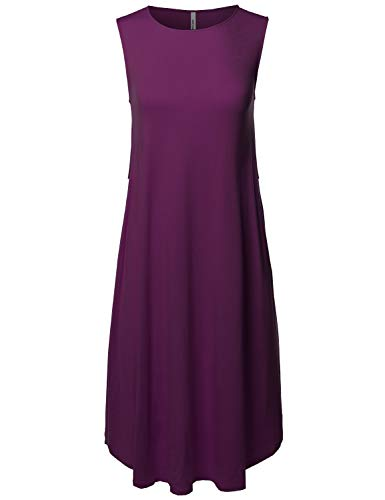 Made by Emma Casual Viscose Sleeveless Round Neck Loose Fit Midi Dress Dark Plum 2XL