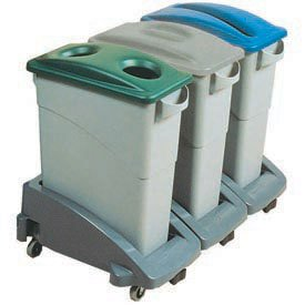 - Rubbermaid Slim Jim Recycling Center w/3 Containers, 3 Trolley, 3 Lids