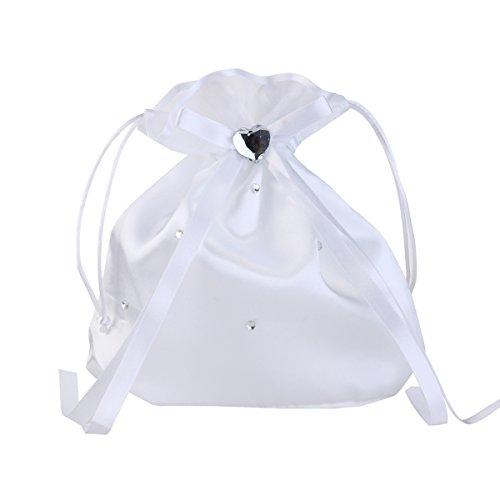 BESTOYARD Wedding Bags Satin Money Bag Bridal Bridesmaid Dolly Bag Handbag (White)