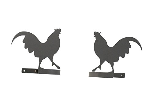 (Wrought Iron Rooster Tie Backs 5 In. W x 4 1/4 In. H)