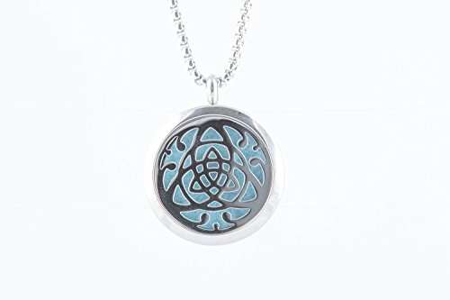 Essential Oil Diffuser Necklace Trinity Knot Jewelry with 8 Color Pads - Hypo-Allergenic 316L Stainless Steel - 24