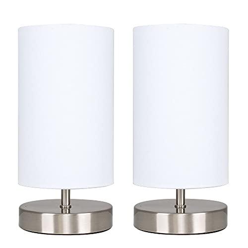 MiniSun - Set de 2 Lámparas de Mesas Táctiles/ Regulables - Diseño Cilíndrico con Bases Cromadas y Pantallas de Tela Blanca - Lámparas de mesita de noche a buen precio