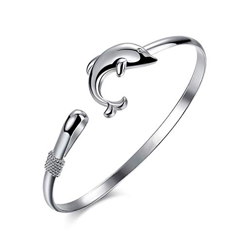 Smartlove1P Trendy Animal Jewelry European Style Fashion Jewelry Silver Color Dolphin Clasp Bangle Bracelet Perfect for Gift