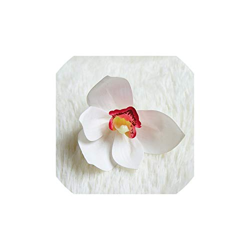 July-Seven-Wrist Corsage,Artificial Orchid Flower Bag Wrist Corsage Fake Plaic Flowers,White