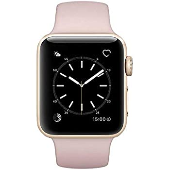 Apple Watch Series 2 Smartwatch 42mm Gold Aluminum Case Pink Sport Band (Pink Sport Band) (Pink) (Renewed)