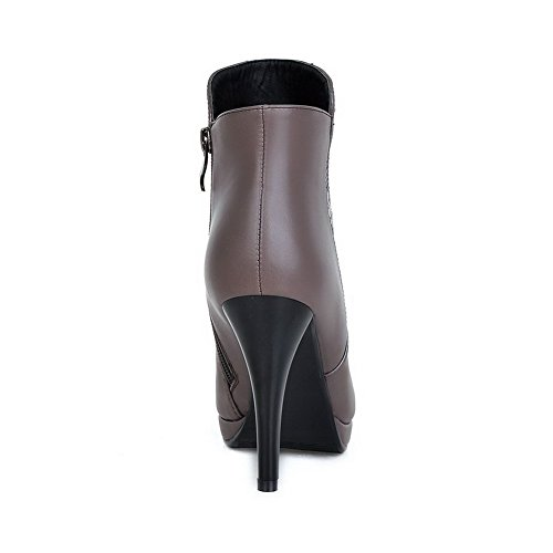 PU Boots Stilettos with Blend Soles Materials Decoration Grey Metal Allhqfashion Women's Spikes Rubber and 5qwaYBnxWH