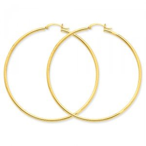 Gold Plated Hoop Earrings 50mm Circle Size (Standard & Most Popular Size)