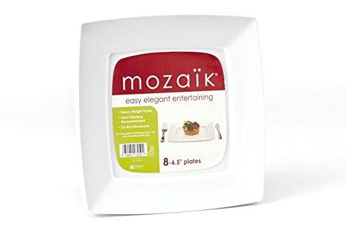 Mozaik Premium Plastic 6.5? White Modern Square Accent Plates, 8 count