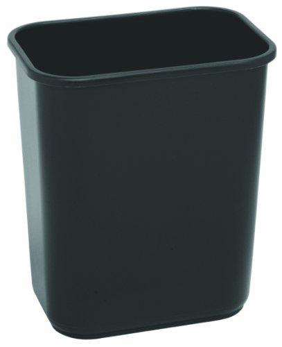 CMC 2818BK Black Plastic Commercial Rectangular Wastebasket, 28-1/8 quart Capacity, 14-1/2