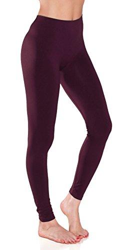 Sofra Womens Seamless Leggings Burgundy