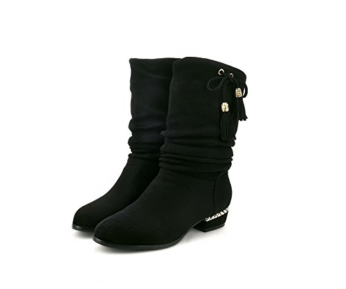 Round Low Imitated Boots Bows with Women's On Pull Allhqfashion Solid Black Suede Closed Heels Toe wEqIFZB0x