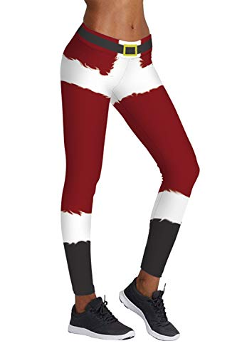 Pink Queen Women's Chic Ugly Santa Christmas Leggings Funny Costume Tights – DiZiSports Store