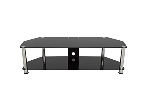 - AVF SDC1400CM-A  TV Stand with Cable Management for up to 65-inch TVs, Black Glass, Chrome Legs