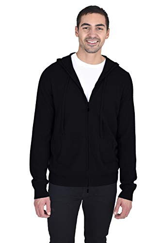 State Cashmere Men's 100% Cashmere Zip Pullover Hoodie with Drawstring Black