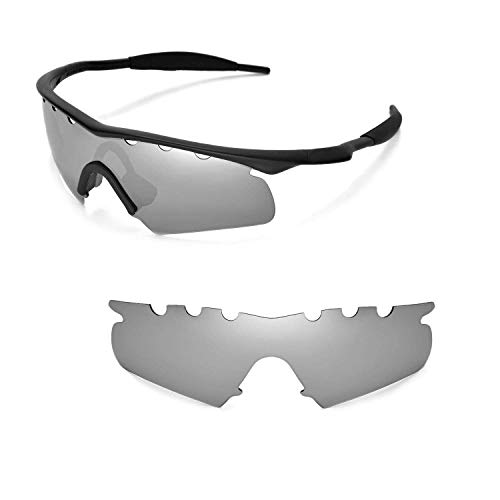 Vented Hybrid Accessory Lenses - Walleva Vented Replacement Lenses for Oakley M Frame Hybrid Sunglasses - Multiple Options Available (Titanium - Polarized)