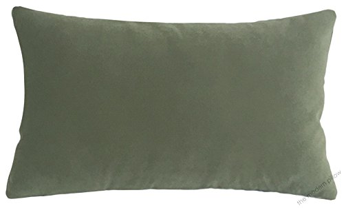 Sage Green Velvet Suede Decorative Throw Pillow Cover / Cushion Cover / 12x20""