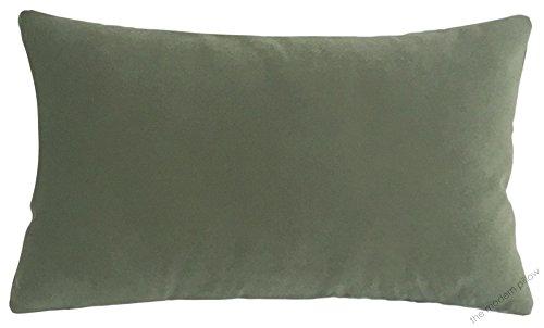 Pillow Sage Velvet - Sage Green Velvet Suede Decorative Throw Pillow Cover / Cushion Cover / 12x20