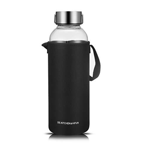 DE.KITCHEN&HIFUN 60OZ Glass Water Bottle, Large Glass Water Bottle with Twist Cap, Borosilicate Glass Bottle Nut Storage Tank, Clear Borosilicate Glass Water Bottle with Neoprene Sleeve