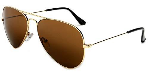 Brown Lenses Mirror Frame - WebDeals - Aviator Silver Mirror or Color Mirror Metal Frame Sunglasses … (Gold Frame, Brown)