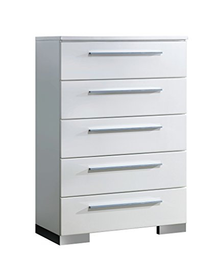 HOMES: Inside + Out ioHOMES Aria High Gloss Lacquer Finish 5-Drawer Chest, White