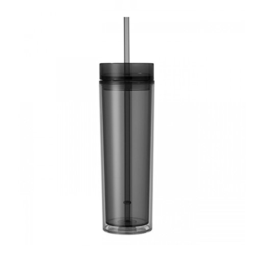 Double Wall Skinny Acrylic Tumbler 16 Oz, with Straws - Tumbler California 16 Ounce
