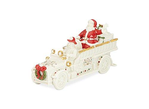 Lenox Porcelain Mistletoe Park Village Treasures Collection 5-in Fire Truck with Santa
