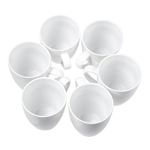 Coffee Mugs Set Set of 6, 14 Ounce Ceramic Dinner Mugs Set, Pure White by Douzi (Image #1)