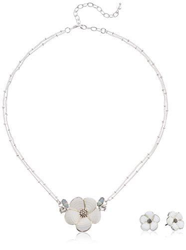 Napier Women's Silver/White 16 inch Flower Pendant Stud Earrings Set