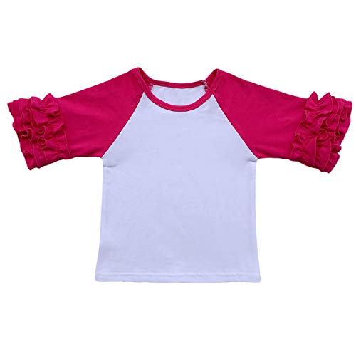 Little Big Girl Icing Ruffle Tops Raglan T-Shirt Boutique 3/4 Sleeve Tee Shirt Halloween Costume Birthday Christmas Rose (Birthday Sleeve 3/4)
