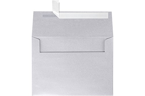 A7 Invitation Envelopes (5 1/4 x 7 1/4) - Silver Metallic (250 Qty) | Perfect for Invitations, Announcements, Sending Cards, 5x7 Photos | 5380-06-250 Silver Shimmer Flat Card