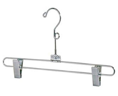 12'' Salesman Skirt Hanger and Pant Hanger -Chrome Finish - Swivel Neck -With Loop - Lot of 100 by Only Hangers