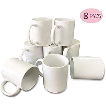 8PCS Coffee Mugs 11OZ Sublimation Blanks Coffee Mug Coffee Cup for Coffee Tea (8 pcs White Mugs)