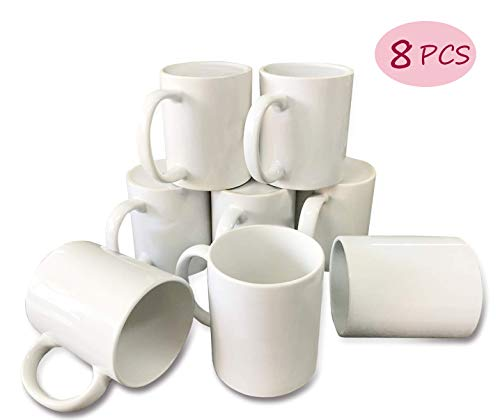 (Bosstop 8PCS 11OZ Sublimation Mug Coated Ceramic Mugs White Sublimation Blanks Mugs for Coffee Milk)