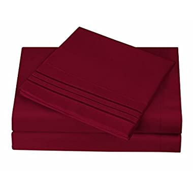 1800 Series Egyptian Collection 3 Line Microfiber 4 Piece Bed Sheet Set (King, Burgundy)
