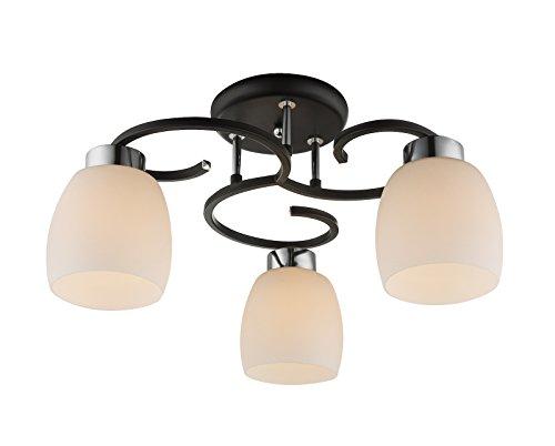 Plafonnier 3 ampoules lampe 48 cm Cuisine Verre Abat-jour plafonnier (éclairage de Plafond Lampe Salon, Chambre, lampe, rétro, noir)