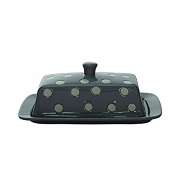 Creative Co-Op Grey and White Stoneware Butter Dish with Polka Dots, 7-3/4-Inch, Multicolor