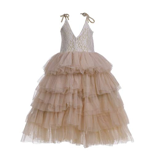 Flower Girl Strap Lace Tiered Tutu Tulle Party Dress Girls Maxi Dresses (Champagne, 10T)]()