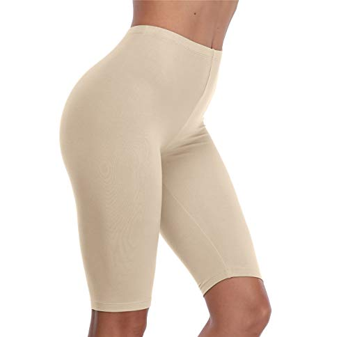 VOGUEMAX Women's Short Leggings Stretchy Mid Tight Leggings Lightweight for Under Dresses/Skirts, Regular and Plus Size Apricot