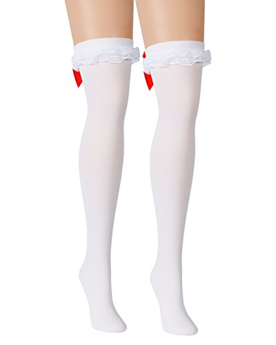 White Opaque Thigh Hi Stockings Red Hearts Back Seam Ruffles Satin Red Bows