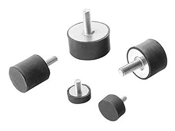 M6 x 18, 25 x 18,5 Maschinenfu/ß Gummipuffer Saugfuss Anschlagpuffer Gummi-Metall-Element mit einseitigem Gewindebolzen Diverse Gr/ö/ßen TypDS