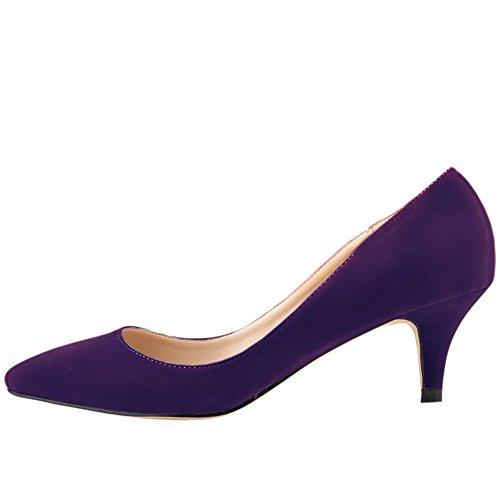 de Mujer la terciopelo de Zapatos Morado imitacion OCHENTA Bajo de aguja clasico de tacon BR4xwWPq5