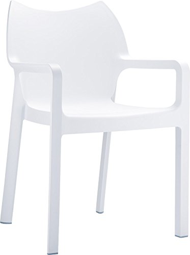 Clear Chair Store 028W Diva Indoor and Outdoor Stacking Dining Arm Chair (Set of 4), White