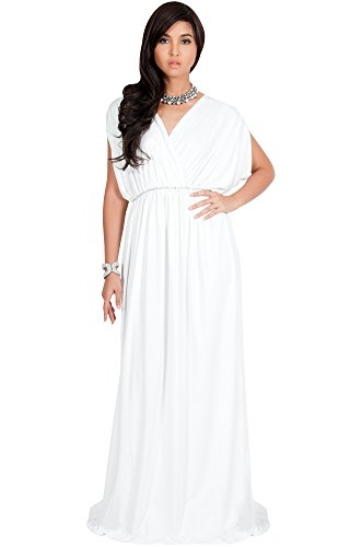 KOH KOH Plus Size Womens Long Cocktail Empire Waist Short Sleeve Formal V-Neck Bridesmaid Summer Flowy Bridesmaids Wedding Guest Grecian Gown Gowns Maxi Dress Dresses, Ivory White 2XL 18-20]()